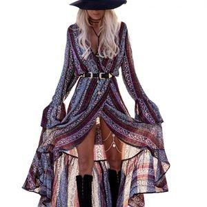 New Lulus Bohemian Maxi Split Dress Size: Medium